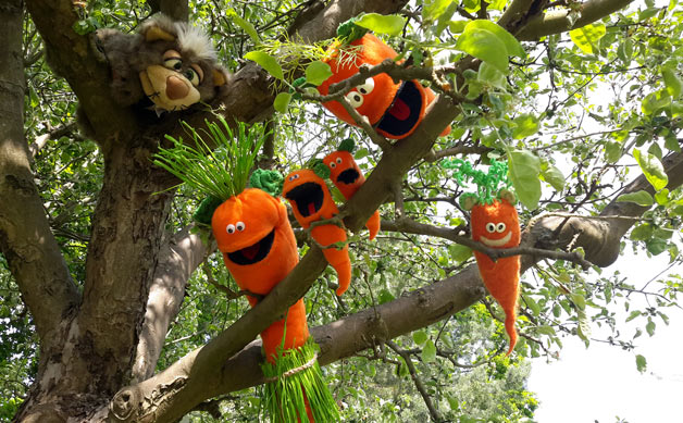 Die Ohrrüben und ein Kater sitzen im Baum.